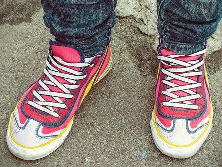 Shoes, Feet, Female, Pink, Puma, Print, Shoelace