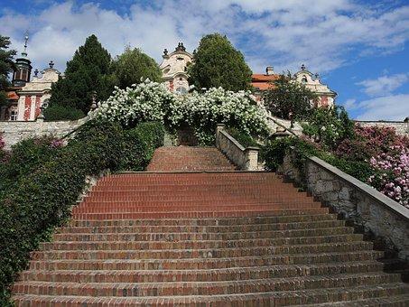 Castle, Stairs, Staircase, Sights, Garden, Stekník