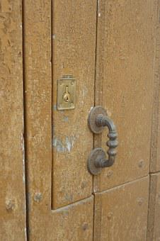 Door, Old, Wood, Rustic, Lock, Shooter, Spent, Chipping