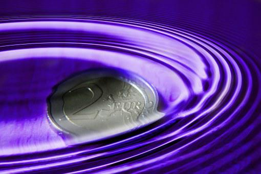Euro, Coin, Wave, Water, Stone, Structure, Background