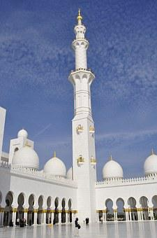 Abu Dhabi, Grand Mosque, Sun, Architecture, Islam