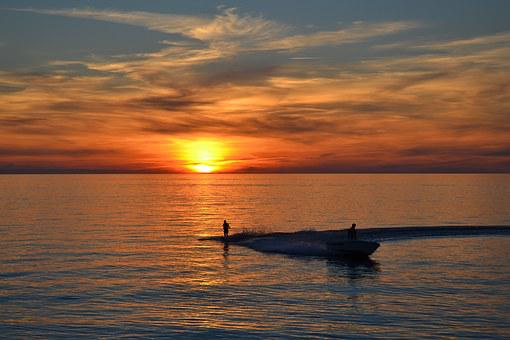 Sunset, Twilight, Sea, Lake, Water, Sweden, Summer