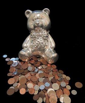 Piggy Bank, Teddybear, Coins, Save, Money, Alowance