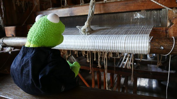 Loom, Weave, Thread, Craft, Hand Labor, Kermit, Frog
