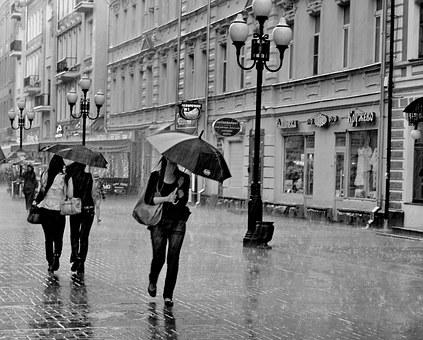 Moscow, Arbat Street, Rain, Bw, People, Rush, Umbrella