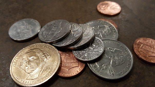 Coins, Finance, Saving, Us Dollar, Quarter, Nickel