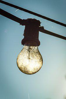 Light Bulb, Lichterkette, Outdoor, Old, Weathered