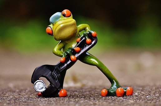Frog, Mechanic, Screwdrivers, Figure, Wrench, Funny