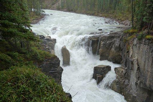 Sunwapta Falls, Canada, Rockies, Alberta, Landscape