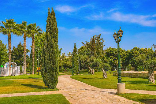 Trees, Lamp, Square, Park, Church, Architecture