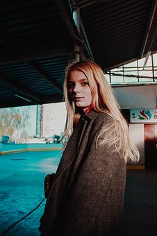 Girl, Portrait, Blonde, Coat, View, Emotion, Hair