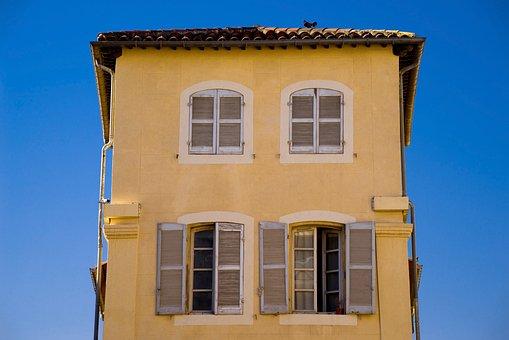 House, Home, Building, Ancient, Yellow, Facade, Shutter