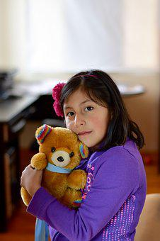 Girl With Teddy Bear, Portrait, Foreground