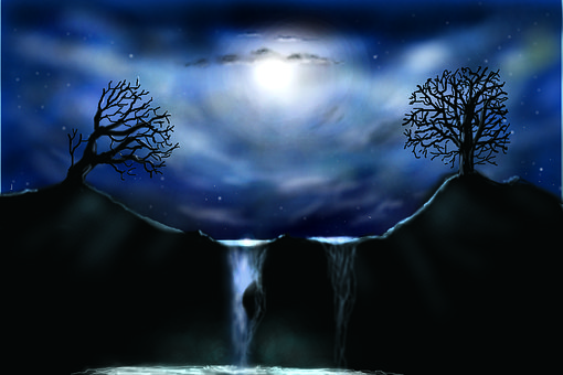 Graphic, Airbrush, Full Moon Night, Sky, Light