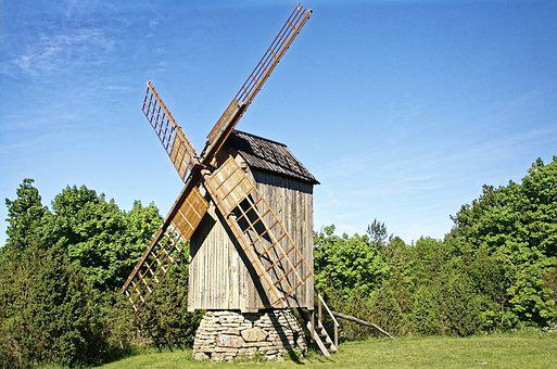Estonia, Muhu Island, Windmill, Historically