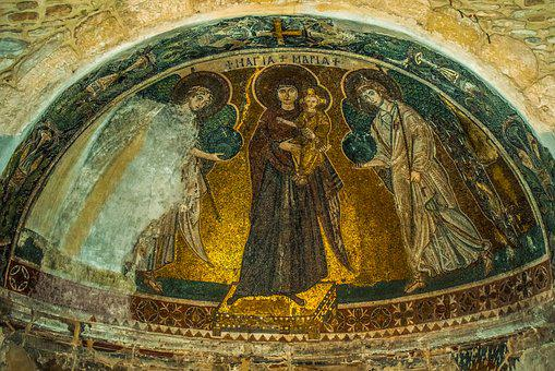 Virgin Mary, Queen Of Heaven, Iconography, Mosaic