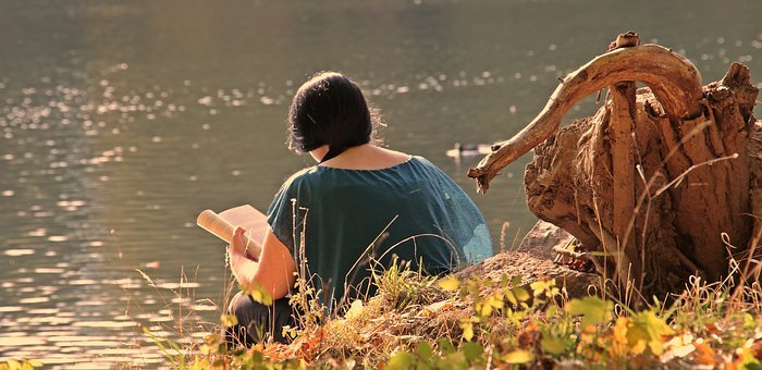 Girl, Autumn, Lake, Indian Summer, Book, Nature, Young