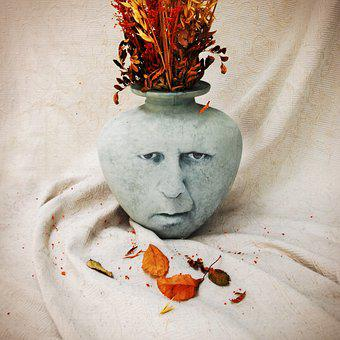 Vase, Autumn, Case, Leaf, Death, Sad, Sadness