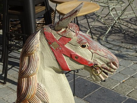 Rocking Horse, Toy Old, Street Scene, Lille, Wood