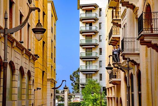 Street, City, Residential, Architecture, Balcony, Men