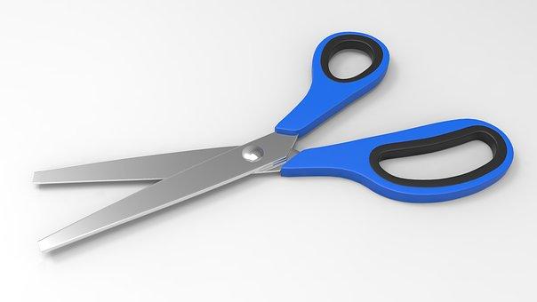 Scissors, Cut, Court, School, Tool, Blue, Office