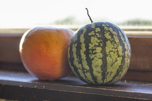 Small, Watermelon, Grapefruit, Window, Window Sill