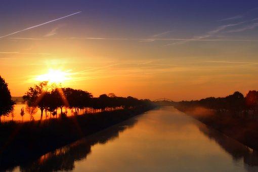 Fog, River, Water, Sky, Sunrise, Bridge, Waters