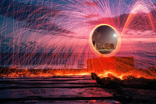 Fire, Ring, Transport, Teleport, Round, Sky, Water