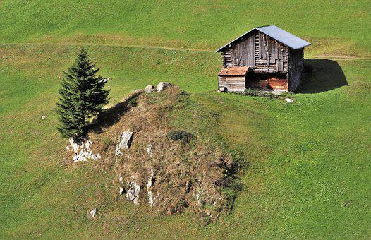 Wooden House, Mountains, Meadow, Switzerland, The Alps