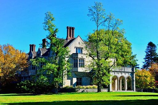 Mansion, Estate, Autumn, Trees, Architecture