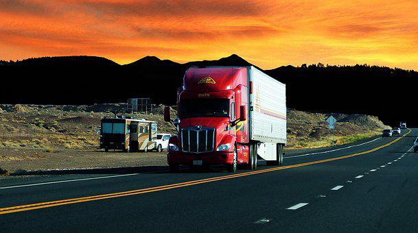 Sunset, Truck American, Road Transport, Vehicle