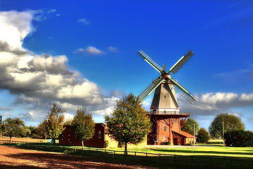 Windmill, Blender, Wing, Sky, Lower Saxony, Mill