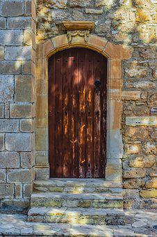 Door, Wooden, Wall, Architecture, Brown, Stone, Church
