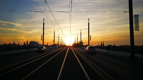 Sunset, After Work, Romantic, Traffic, Bridge, Autos