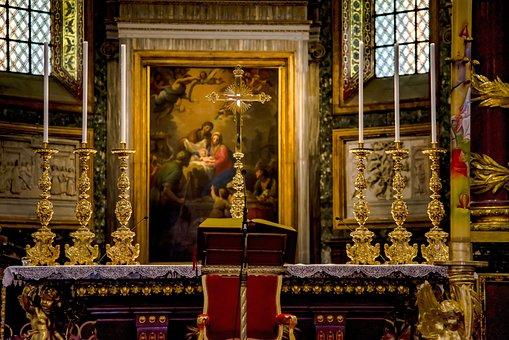 Altar, Church, Cathedral, Candle Holder, Candelabra