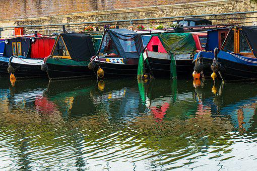 Canal, River, Narrrowboat, City, London, Regents Canal