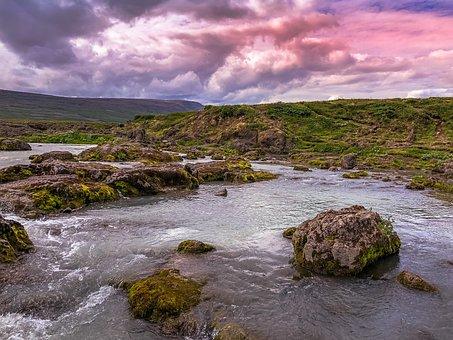 Iceland, Colors, Figure, Water, Landscape, Color