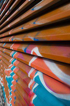 Brown, White, Blue, Graffiti, Orange, Wall, Decorative