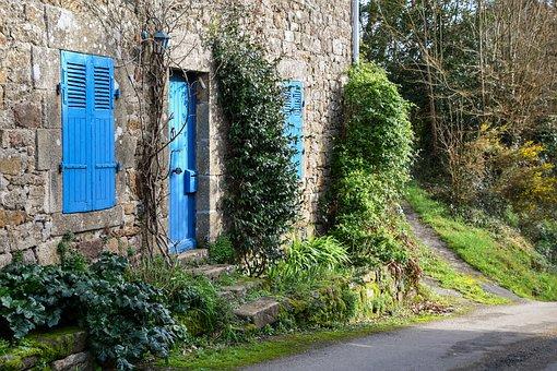 House, Facade, Field, Former, Path, Door, Pane, Green