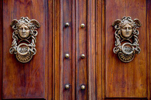 Door, Gate, Wood, Knocker, Gorgon, Metal, Ancient, Old