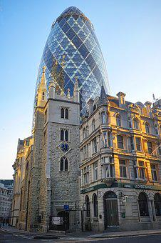 London, England, Mirroring, Glass, Facade, Architecture