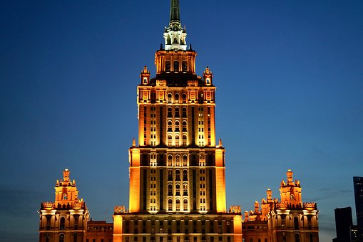 Russia, Moscow, Hotel Ukraine, Seven Sisters, Night