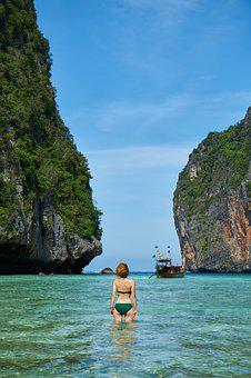 Model, Thailand, Marine, Ocean, Pose, Woman, Girl, Mayo