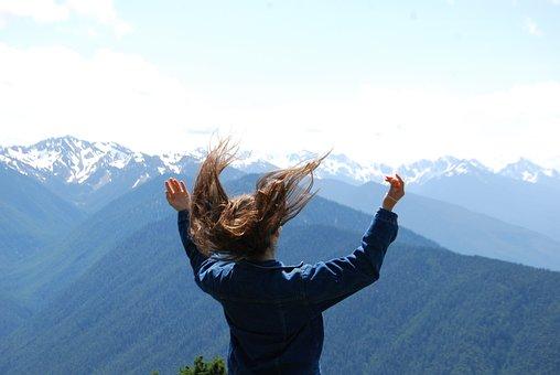 Mountains, Swinging Hairy, Happy Girl, Summer