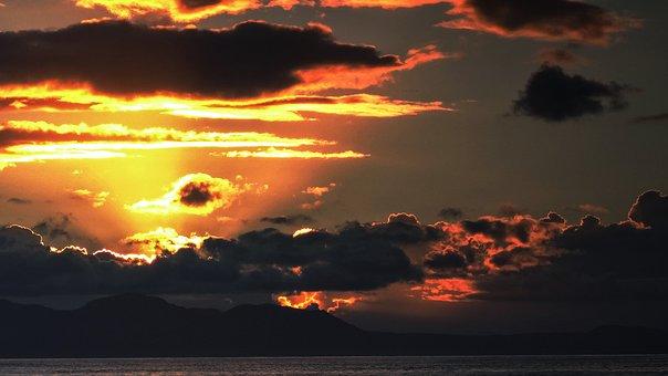 Sunset, Sun, Sky, Clouds, Sea, Mood, Nature, Dusk