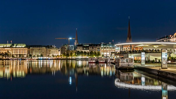 Hamburg, Alster, Evening, Night, Dark, Water