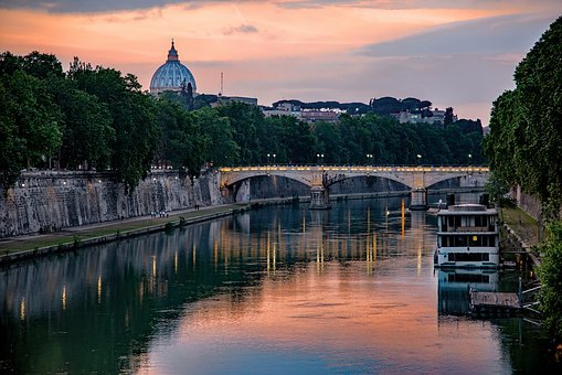 River, Bridge, Barge, Evening, Tiber, Dome, Reflection