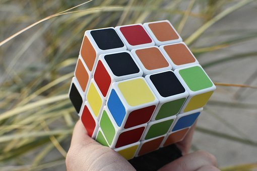 Rubik Cube, Hand, Outside, Puzzle, Game, Colors