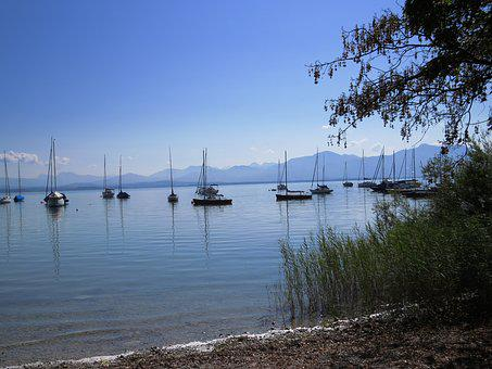 Sailing Boat, Boat, Vessel, More, Blue, Water, Chiemsee