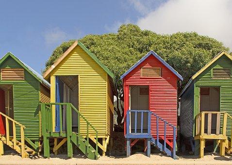 Beach Huts, Swimming, Beach, Sea, Ocean, Water, Summer